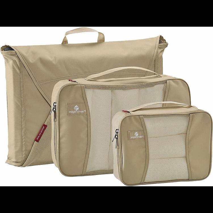 Nuovo Eagle Creek Confezioni-It Starter Set con Garment Cartella & 2 Cubi Tan