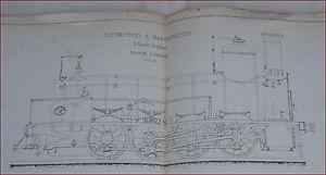"""El Navia Steam Engine Locomotive n°515 Schneider Plan Original Lithograph Print - France - État : Occasion : Objet ayant été utilisé. Consulter la description du vendeur pour avoir plus de détails sur les éventuelles imperfections. Commentaires du vendeur : """"El Navia steam engine locomotive n 515 made by Schneider & Co sectiona - France"""