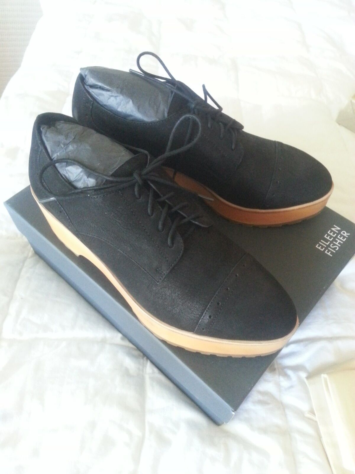 New Eileen Fisher wedge oxford black nubuck shoes size 8 retail  245