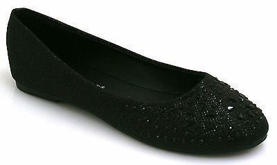 Damas & Niños Plana Bombas Para Mujer Brillo Ballet Ballerina Dolly Zapatos De Novia Talla