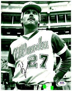 Ted Turner Owner Atlanta Braves Signed 8x10 B&W Photo PSA