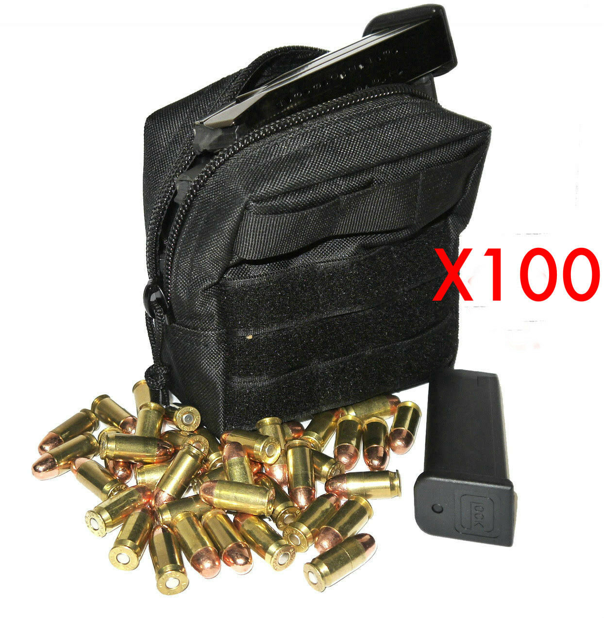 (100) 762X39 AMMO MODULAR MOLLE UTILITY POUCHES FRONT HOOK LOOP STRAP .762 X 39