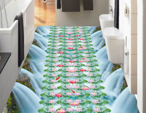 3D Pink Lotus Waterfall 45 Floor WallPaper Murals Wall Print Decal AJ WALLPAPER