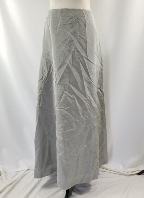 af79c01da4e058 Vera Wang Vintage Silver Gray Taffeta Long Full Length A-Line Skirt Size 8