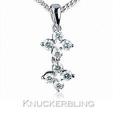 Genuine Diamond Pendant 0.40ct Colour F Clarity VS 18ct White Gold Star Flower