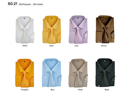 New Men's French Cuff Dress Shirt + Tie + Handkerchief Set Spread Collar SG27