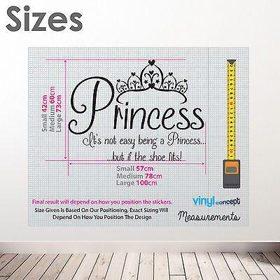 Princesa su no fácil Niñas Zapato De Pared Dormitorio de texto cita Calcomanía Pegatinas A365 Nuevo