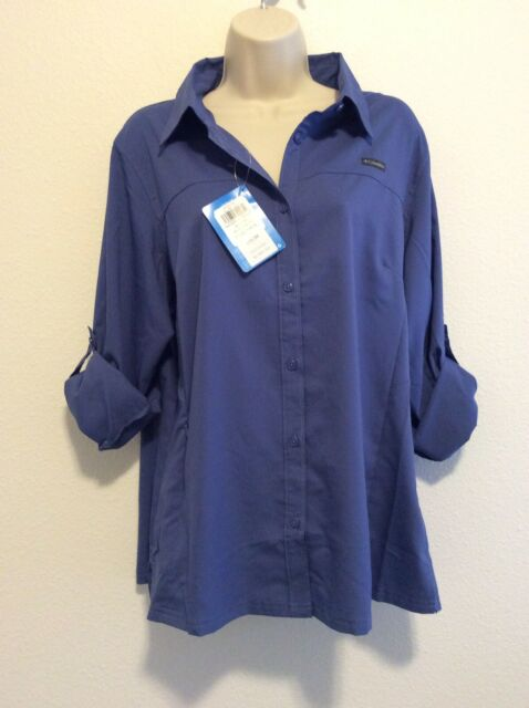 XL NEW Columbia Women's PFG Trkee River Long Sleeve Shirt BLACK