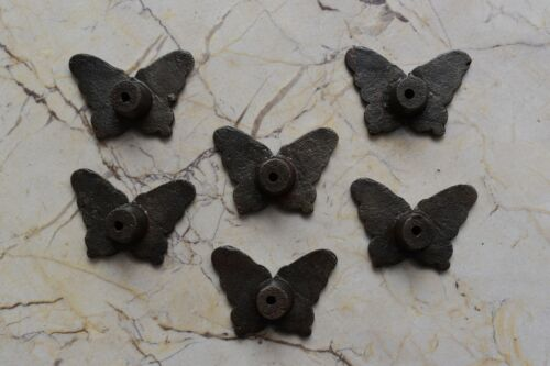 Vintage cast iron Butterfly cabinet drawer door knobs handles pull rustic 6 pcs