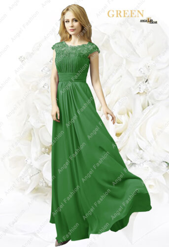 Chiffon M03 Long Maxi Evening Wedding Bridesmaid Formal Party Prom DressUK 8-24