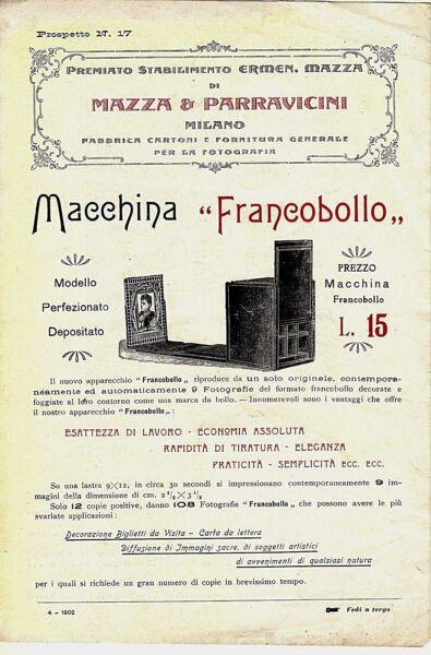 """1902 Depliant Macchina Fotografica Foto """"francobollo"""" Mazza & Parravicini Milano"""