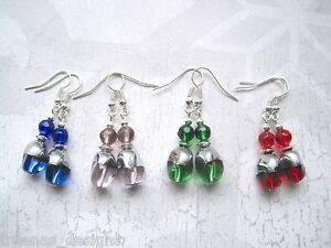 TWISTED-OVAL-GLASS-BEAD-Drop-Earrings-Silver-Plated-Emerald-Green-Red-Blue-Pink