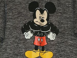 Mickey-Mouse-Disney-Mens-Size-L-Large-Buff-Muscle-Muscles-Gray-Crewneck-Shirt