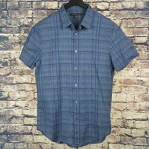 JOHN-VARVATOS-Mens-Blue-Plaid-Button-Down-Shirt-Medium-Short-Sleeve-Slim-Fit