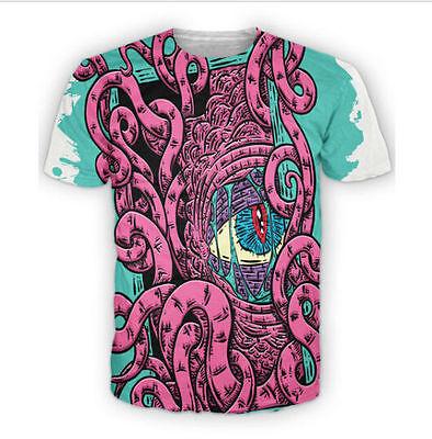 New Fashion Womens/Mens Squid Eye Funny 3D Print Casual T-shirt KO69
