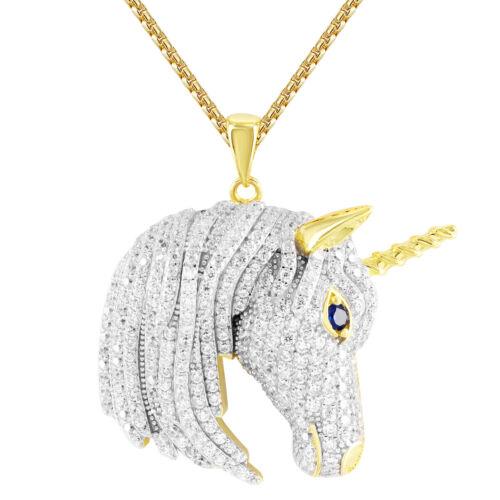 Gold Finish Blessed Unicorn Created Blue Sapphire Eye Animal Custom Pendant