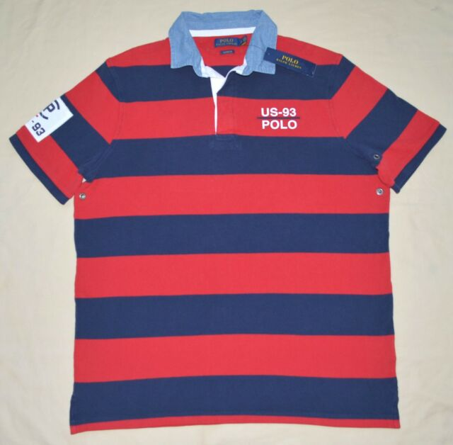 5829140b90d9 New Medium M POLO RALPH LAUREN Mens CP 93 Classic Fit Rugby shirt Navy blue  red