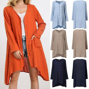 Women-Winter-Button-Pockets-Tops-Solid-Cotton-Linen-Long-Sleeve-Cardigan-Coat-AU