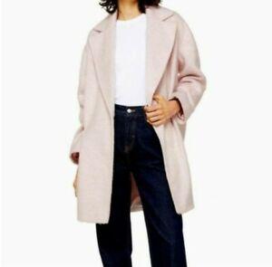 TOPSHOP Carly Long Coat Coat Pink Size US 8 NEW (Runs Large)
