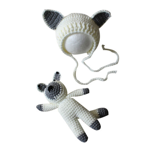 Hat Set Photography Photo Props Newborn Baby Girl Boy Crochet Knit Costume fox