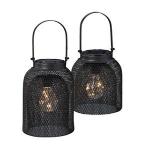 LED-Solar-Lampe-Leuchte-Drahtgeflecht-Metall-schwarz-Lichterkette-Gluehbirne
