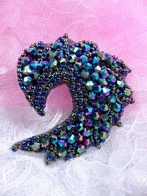 JB60 Peacock Glass Beaded Applique Hot Fix Iron On Patch ~ Sewing Crafts Motif