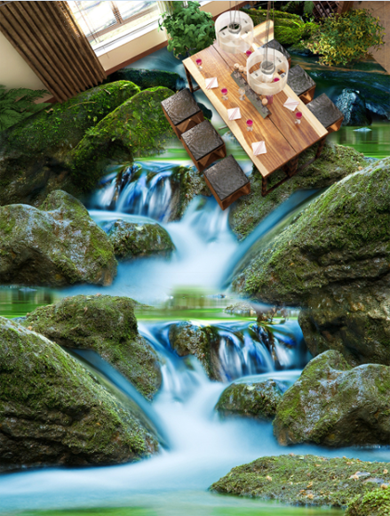 3D Stone waterfall 2535 Floor WallPaper Murals Wall Print Decal 5D AJ WALLPAPER