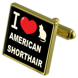 American Hair Cufflinks Short Tone Gold I Clip My Moneta Cat love wzqn8PXv