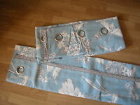 Next Curtains Cornflower Country Floral Powder Blue Eyelet Lined 66 X 90
