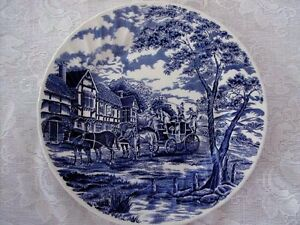 Collectible-Staffordshire-Cobalt-Blue-Carriage-Scenic-Plate-Made-in-England