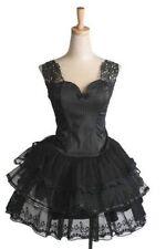 Princess Lolita Gothic Punk Dolly Visual Kei Lace Appliqué Top + Tulle Skirt SET