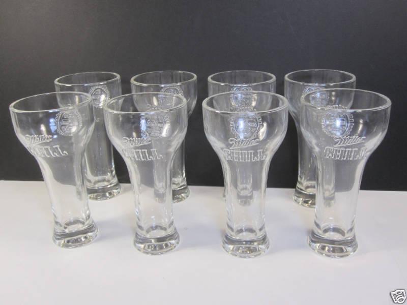Miller Pilsner Beer Glasses 8 New