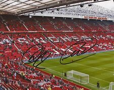 MAN UNITED F.C: SIGNED 10x8 GROUND PHOTOx2+COA *PATRICE EVRA*ANDERS LINDERGAARD*