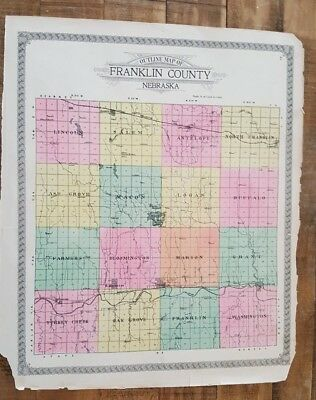 Antique Map Franklin County Ne/atlas Of Franklin Co 1923 Making Things Convenient For Customers Nebraska Ogle & Co