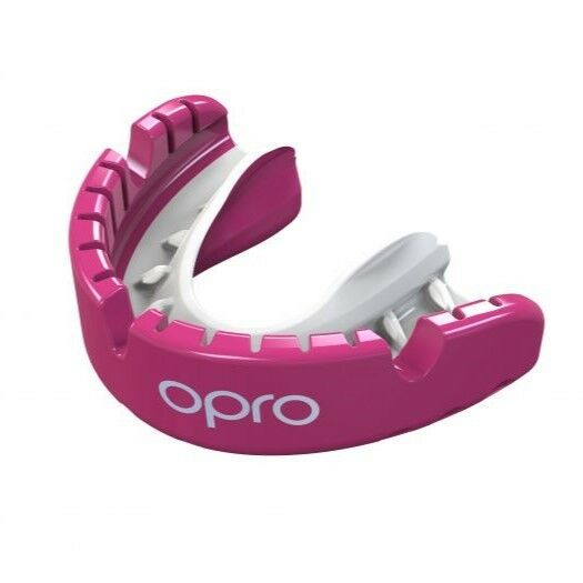 OPRO Gen 4 Mouth Guard gold Level Braces Pink Pearl Gum Shield FREE CASE