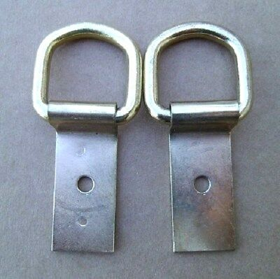 """6 Brass Heavy Duty Saddle Clip and Dee 1/"""" D Ring 2/"""" Clip Saddle Strings Tack"""