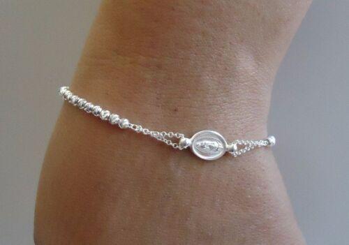 Religieux Diamond Cut Perles Bracelet avec Rosaire Médaillon//argent sterling 925