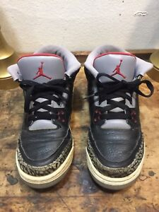 Nike Air Jordan 3 Retro Black Varsity Red-Cement Grey 136064 010 Sz7 ... ef07da43f3