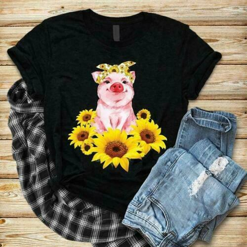 Pig /& Sunflowers Ladies T-Shirt Cotton S-3XL