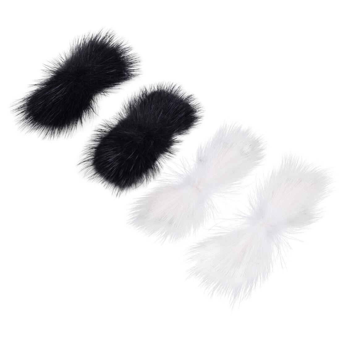 Pair Mink Fur Hair Pom Pom Shoe Clips Bow Fluffy Ornament Heels Charm DIY 8*3cm