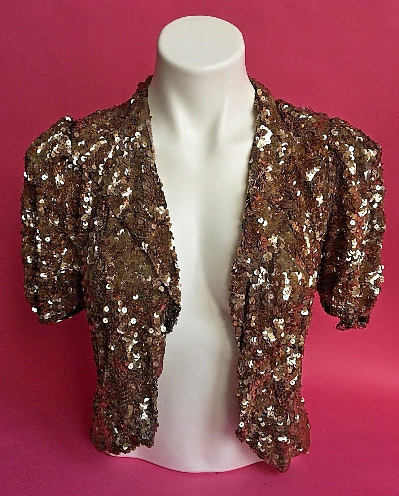 Vintage 1930s Jacket Cellulose Gold Sequined Full Tulle Short Sleeves Small