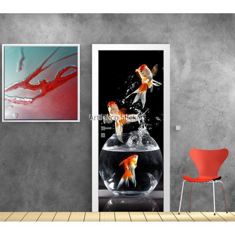 Aufkleber Tür Deko Design Blütenblatt Blaume 9517