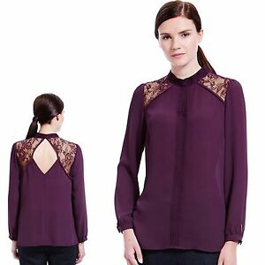 M-amp-S-Silky-LACE-PANELLED-Long-Sleeve-BLOUSE-Asst-Sizes-BLACKBERRY