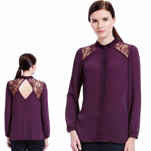 M&S Silky LACE PANELLED Long Sleeve BLOUSE ~ Var Sizes ~ BLACKBERRY