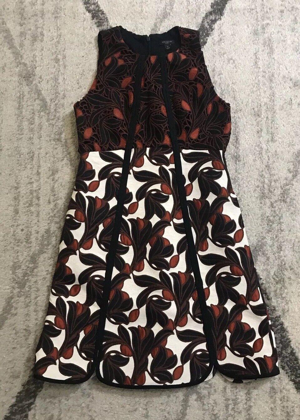Ann Taylor Vine Leaf Print Piped Dress rot Orange Navy 0P NWOT