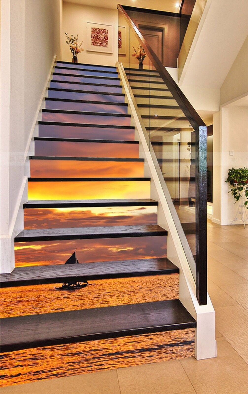 3D Sailboat Sea 327 Stair Risers Decoration Photo Mural Vinyl Decal Wallpaper AU