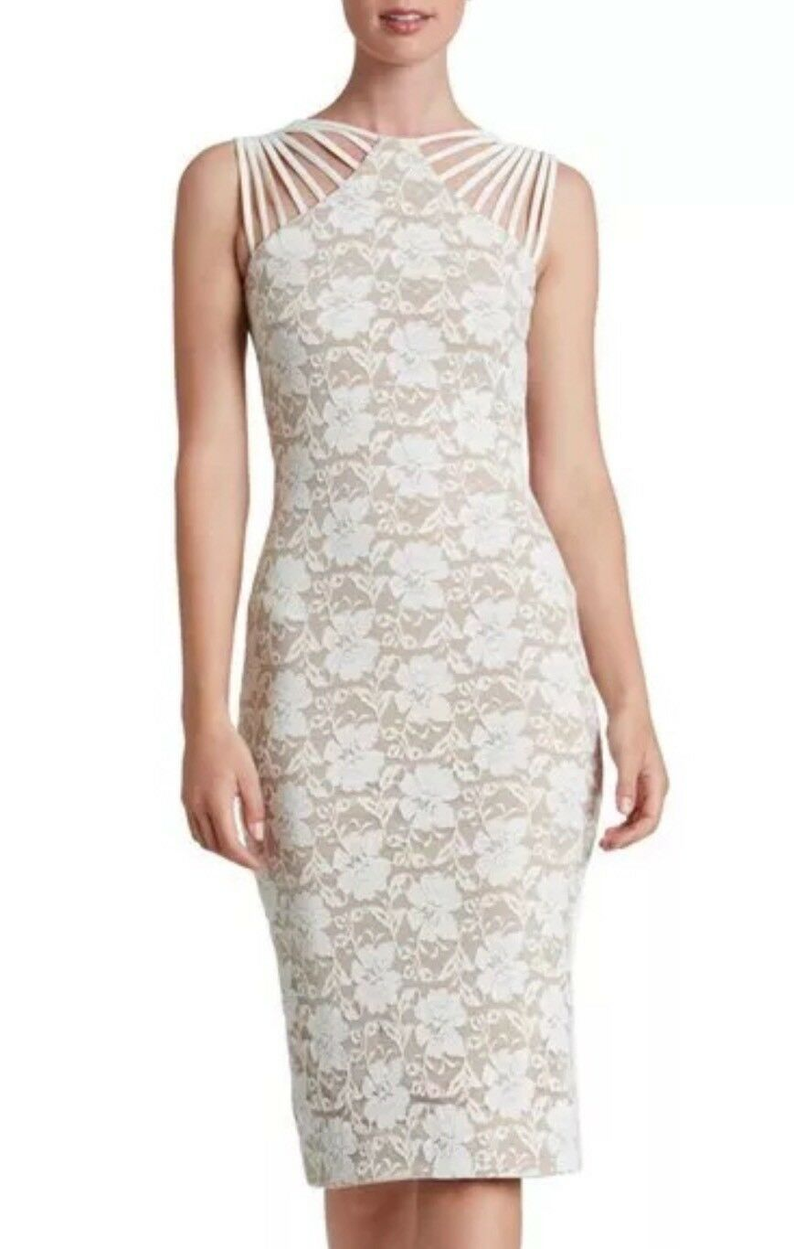NWOT DRESS THE POPULATION GWEN LACE MIDI NUDE IVORY LACE SHEATH DRESS SZ S
