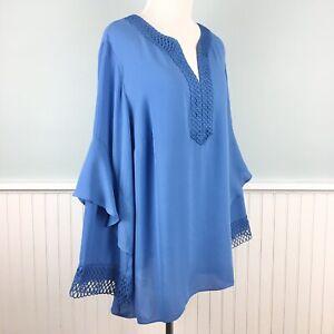 SIZE 1X Alfani Blue Lace Trim Peasant Boho Top Blouse Shirt Women's Plus NWT New