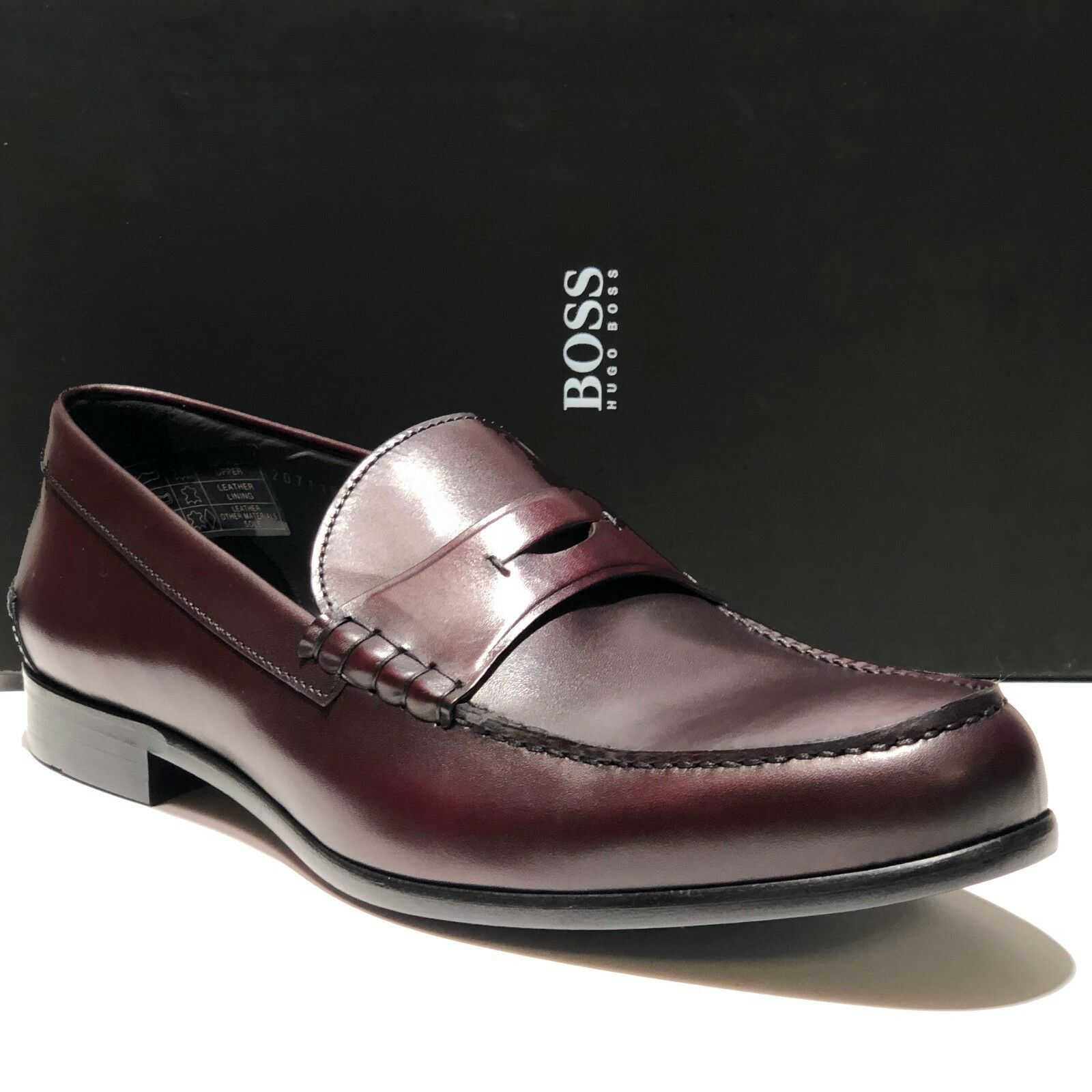 Hugo Boss ITALY Marronee rosso Leather Penny Loafers Dress scarpe Men's Fashion Casual