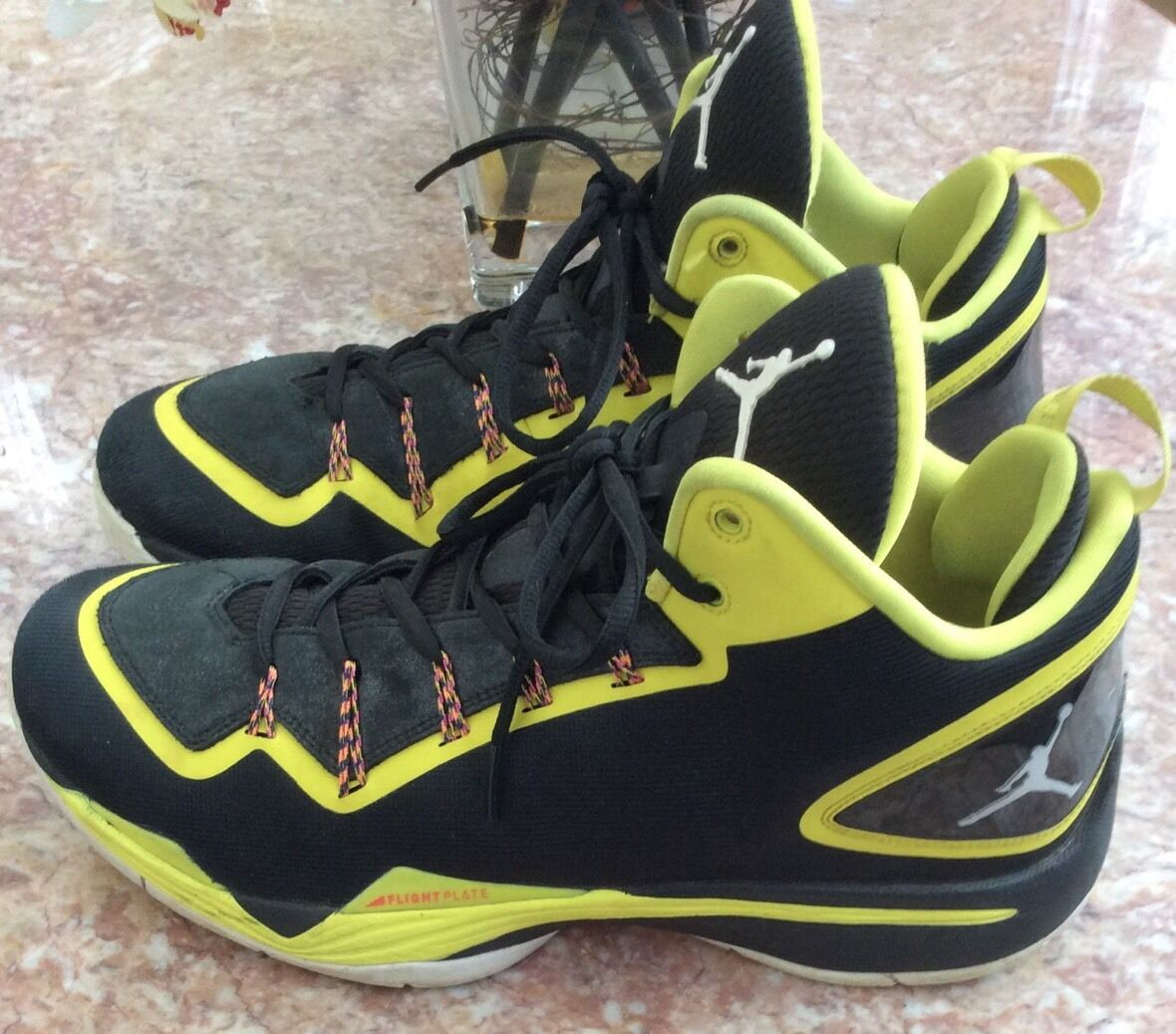 Nike Jordan Super Fly 2 PO Men Black Yellow Basketball shoes Sz 11.5 645058-070